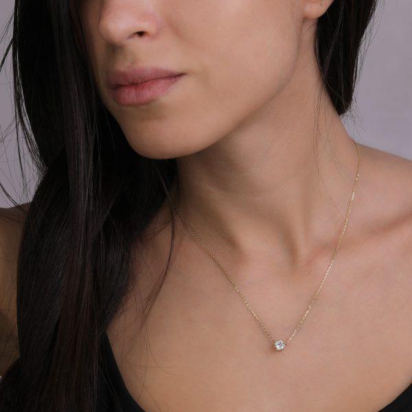 שרשרת זהב יהלום - אביה