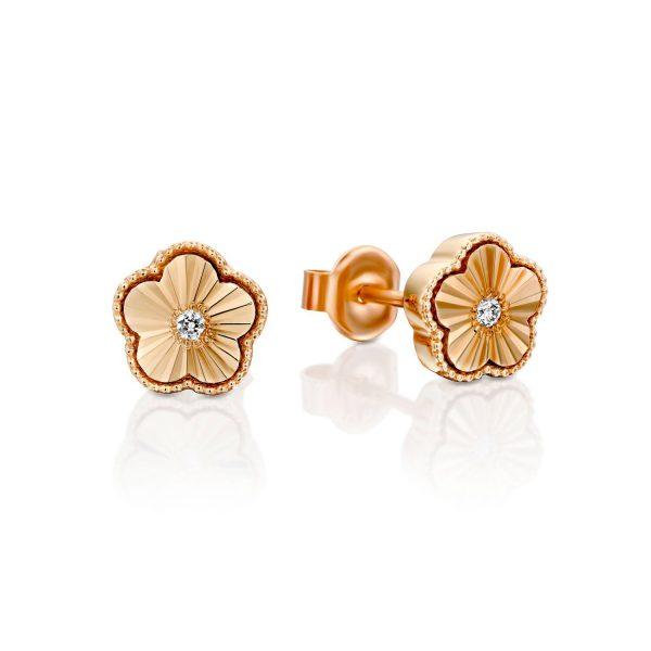 עגילי יהלום - פרחים