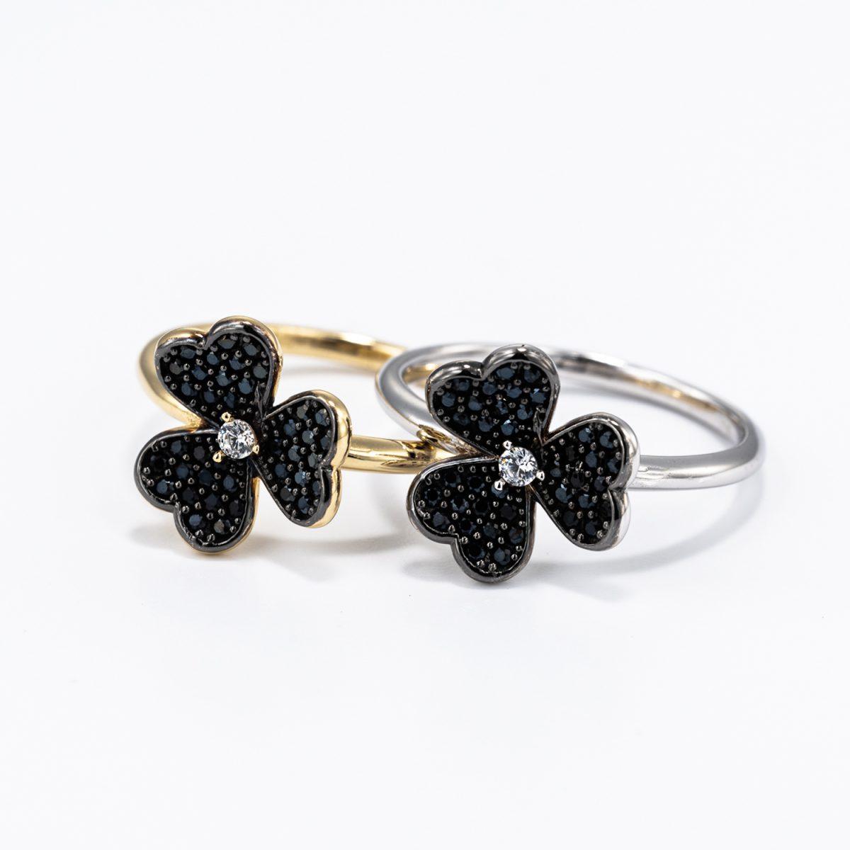 טבעת פרח - יהלומים