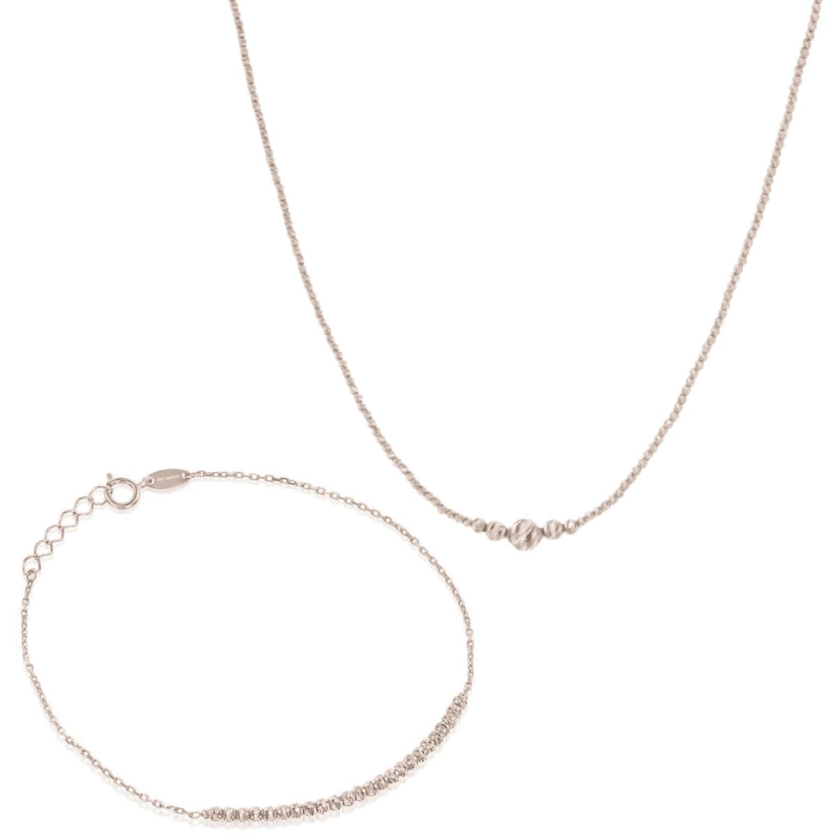 סט שרשרת וצמיד כדורים זהב לבן בחיתוך לייזר