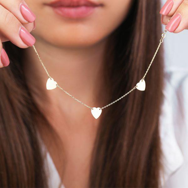 צמיד זהב 3 לבבות