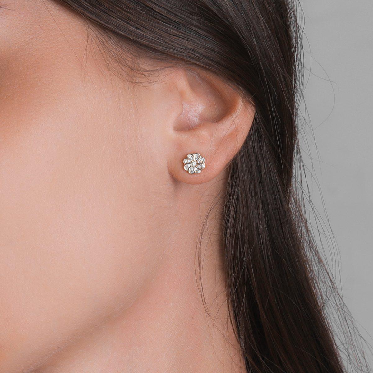 עגילי יהלומים - פרח