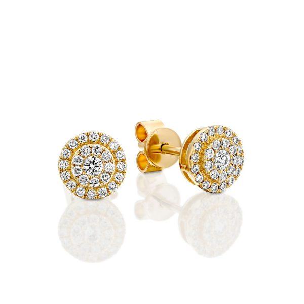 עגילי יהלומים - זהב נורית
