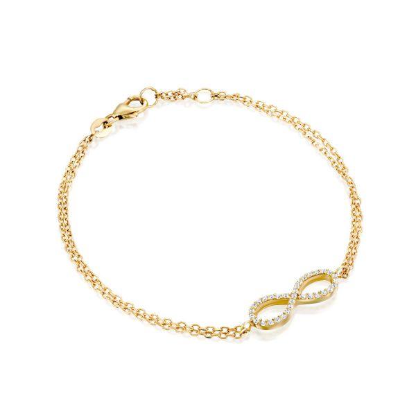 צמיד זהב - אינפיניטי משובץ