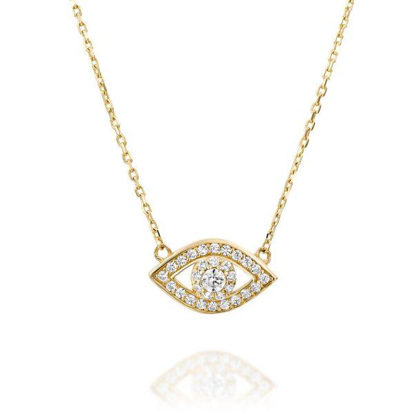 שרשרת זהב - עין משובצת