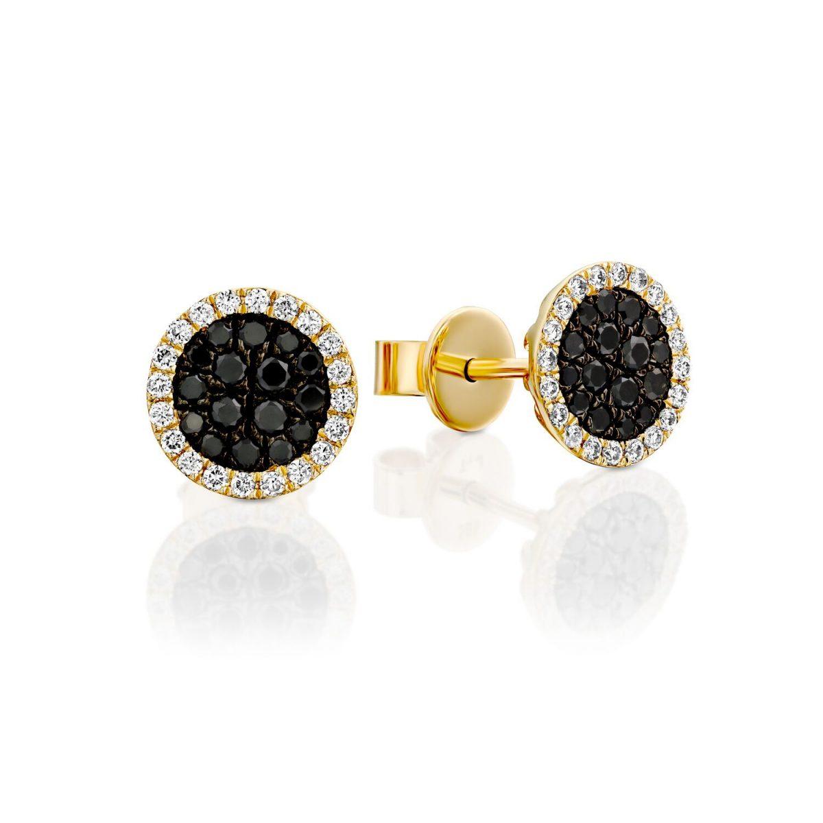 עגילי יהלומים שחורים זהב צהוב - מיה