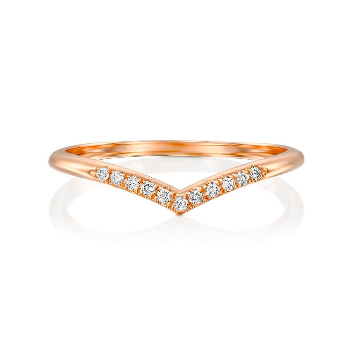 טבעת יהלומים תמר זהב אדום