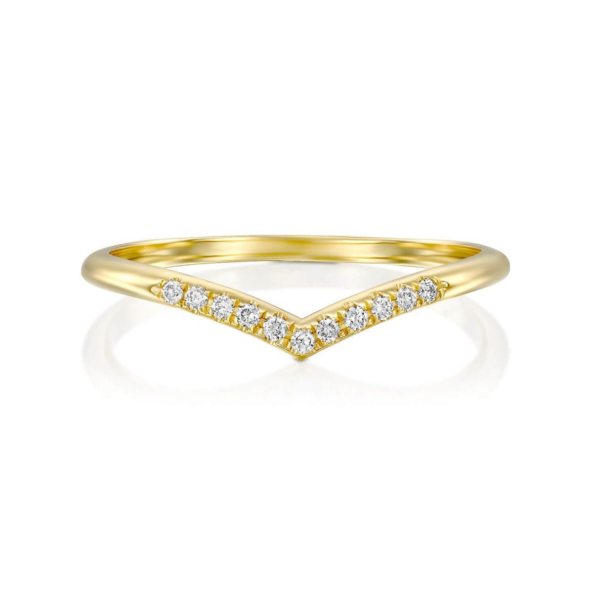 טבעת יהלומים תמר זהב צהוב