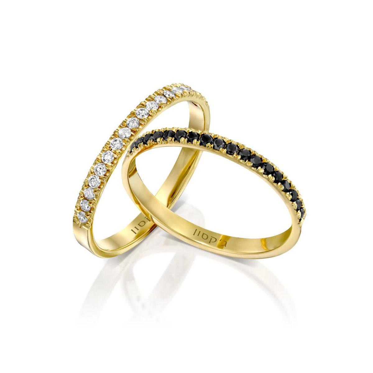 טבעת נילוס יהלומים לבנים ושחורים