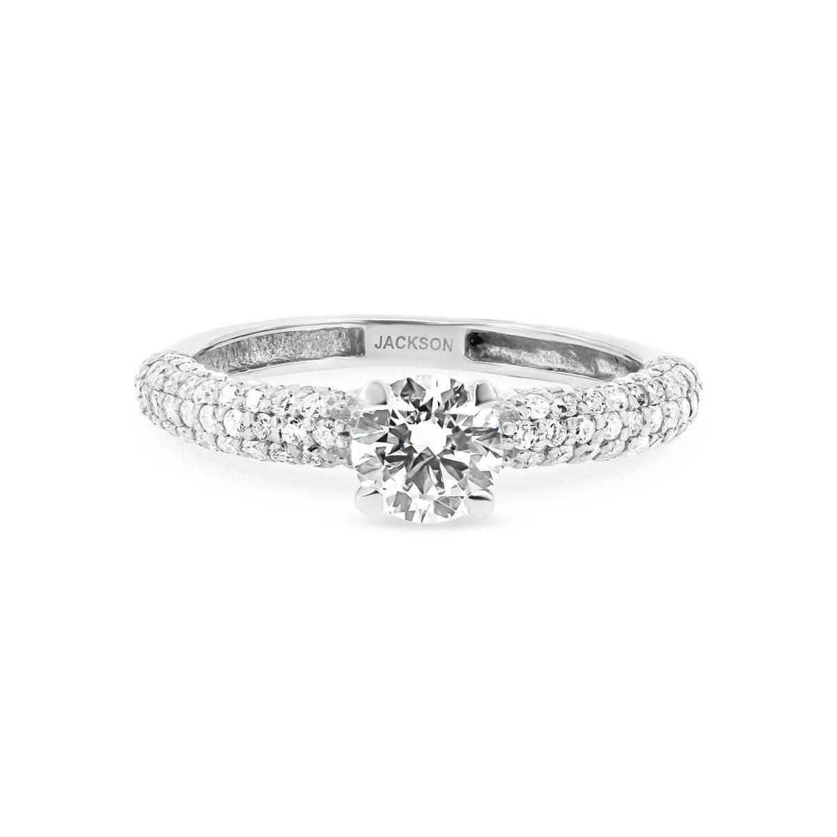 טבעת אירוסין כרמל זהב לבן