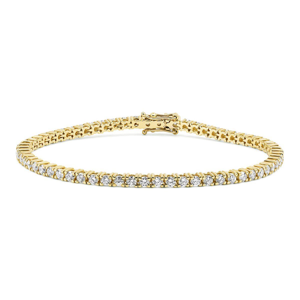 צמיד טניס יהלומים - אלינה - זהב צהוב