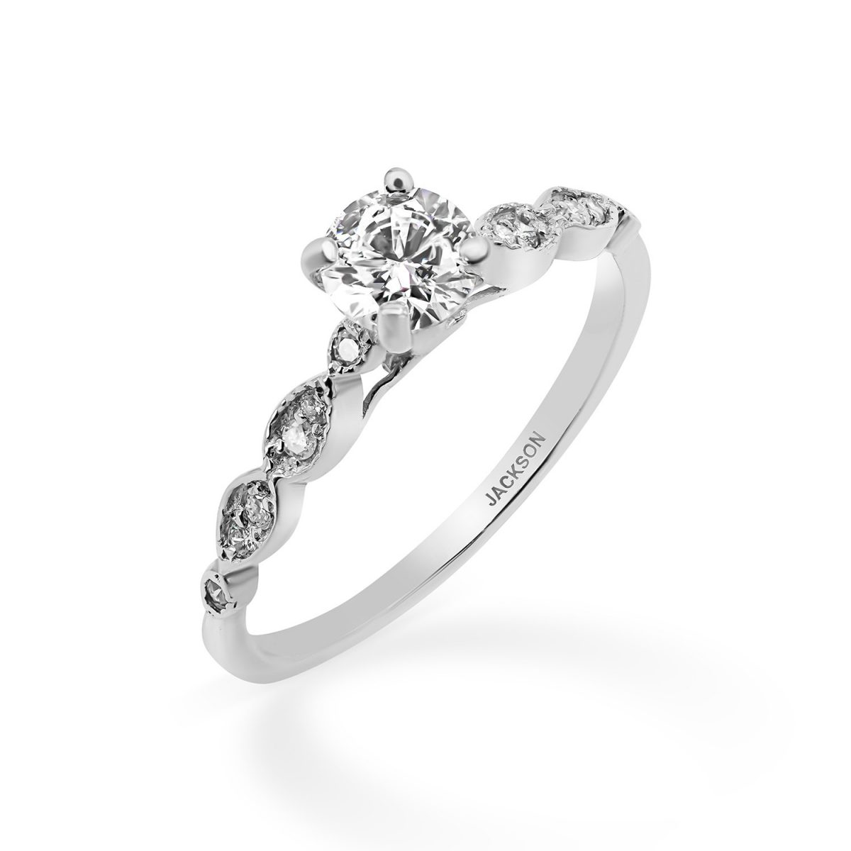 טבעת אירוסין לוטם זהב לבן