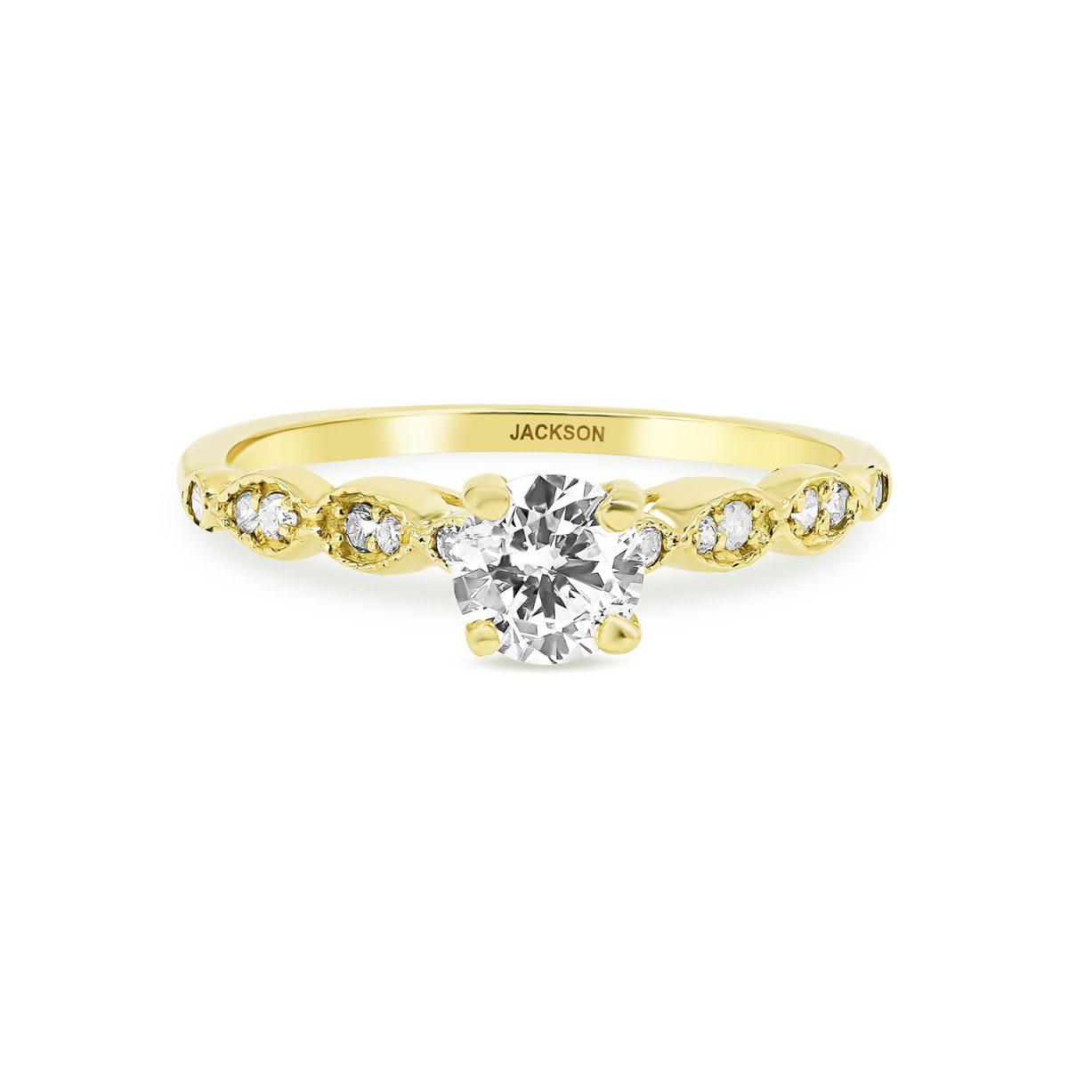 טבעת אירוסין לוטם זהב צהוב