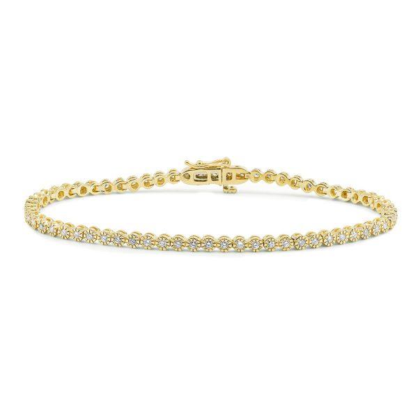 צמיד טניס יהלומים זהב צהוב - שובל