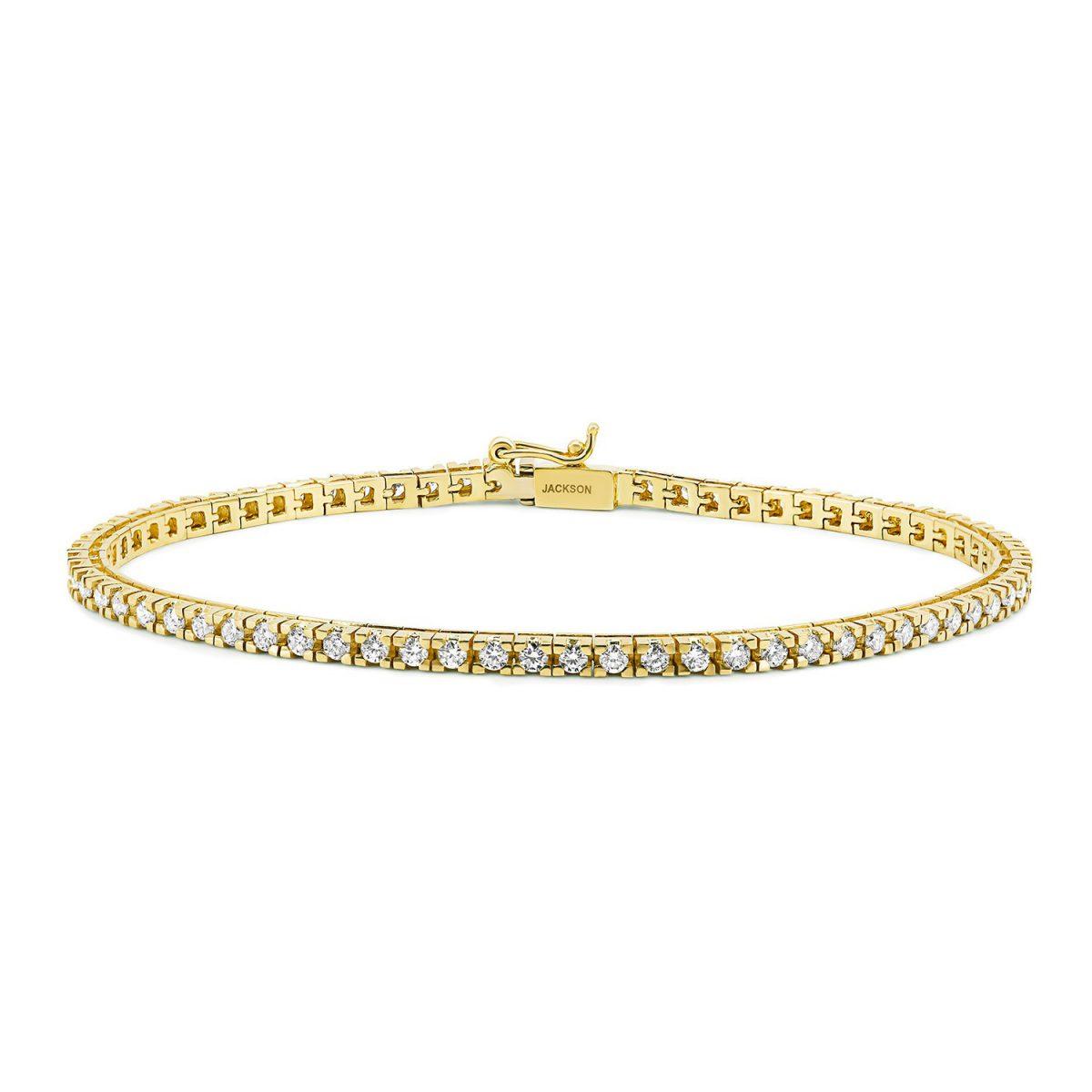 צמיד טניס יהלומים - שחר - זהב צהוב