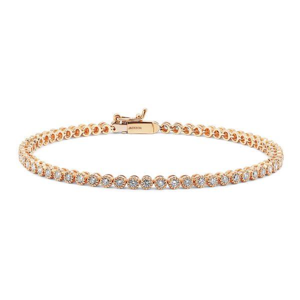 צמיד טניס יהלומים - איב - זהב אדום