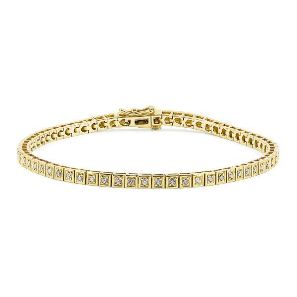 צמיד טניס יהלומים - ברי - זהב צהוב