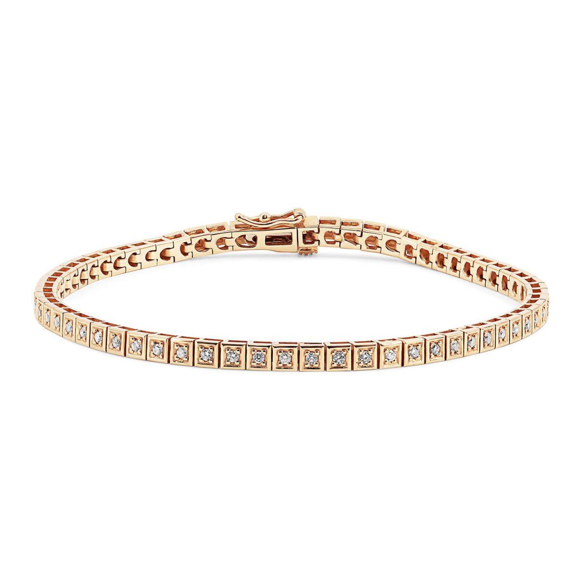 צמיד טניס יהלומים - ברי - זהב אדום