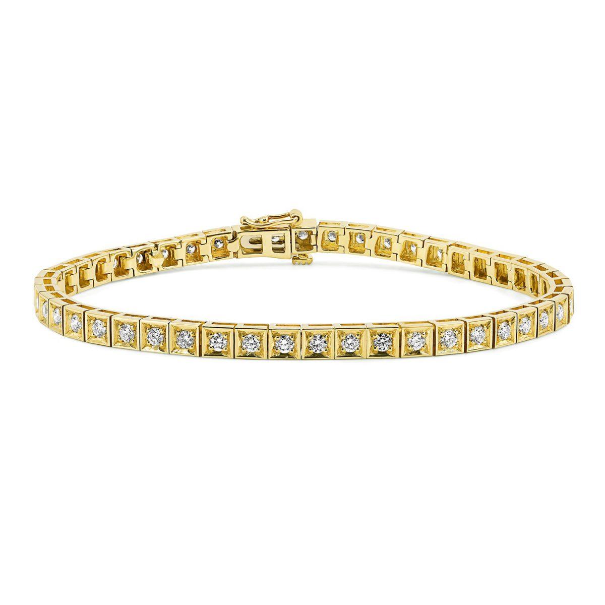 צמיד טניס יהלומים - אמה - זהב צהוב