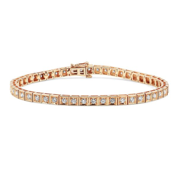 צמיד טניס יהלומים - אמה - זהב אדום