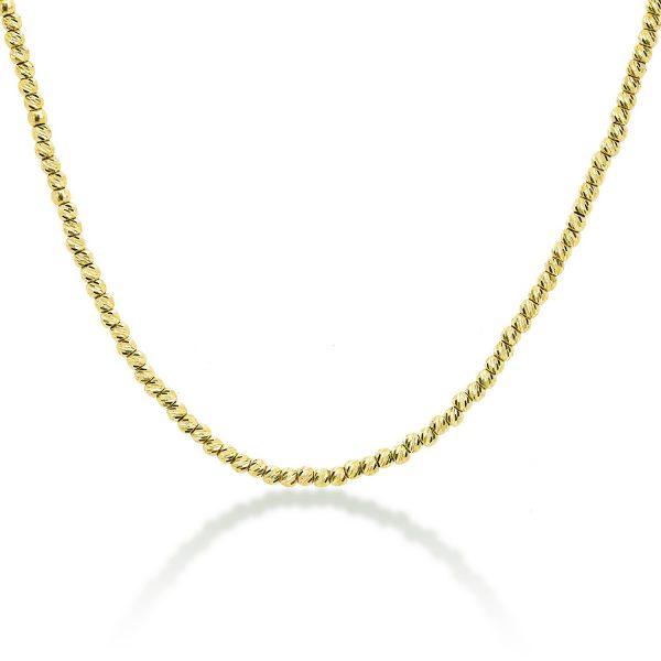 שרשרת זהב כדורים בחיתוך לייזר - אדווה