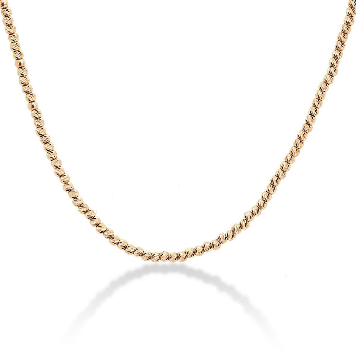 שרשרת זהב כדורים בחיתוך לייזר - אדווה זהב אדום