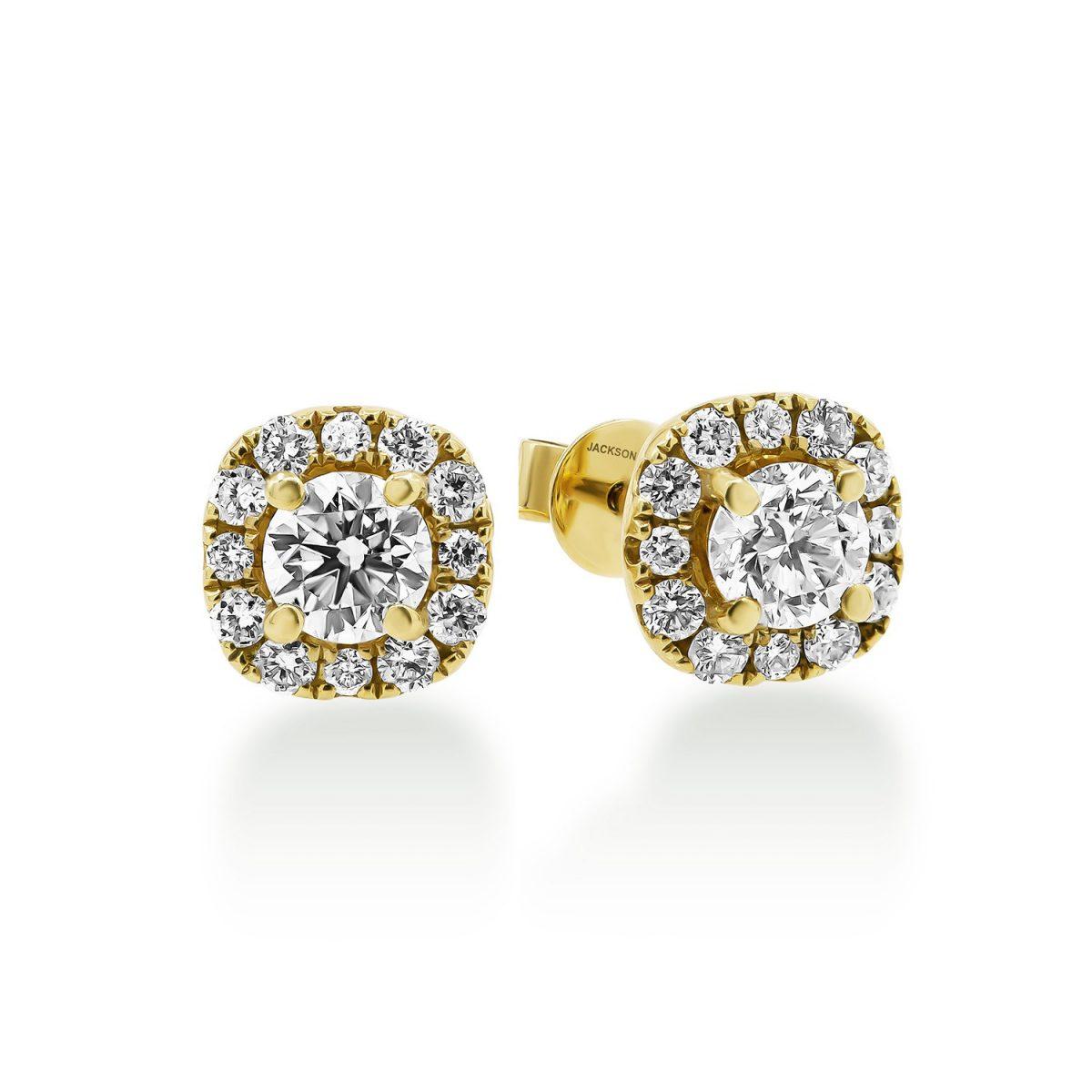 עגילי יהלומים ורוניקה - זהב צהוב