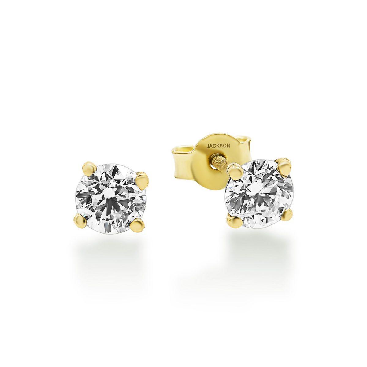 עגילי יהלום צמודים זהב צהוב - זואי