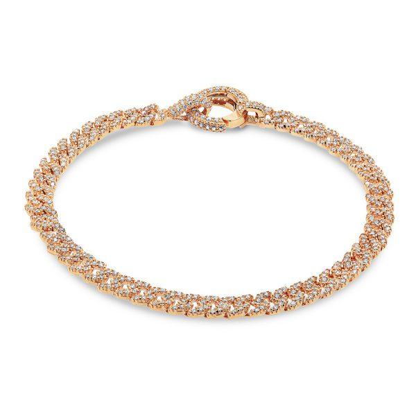צמיד זהב חוליות משובץ - אלנה