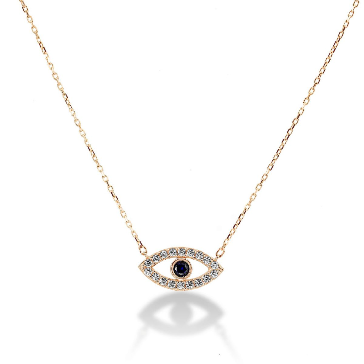 שרשרת זהב עין משובצת זרקונים - זהב צהוב