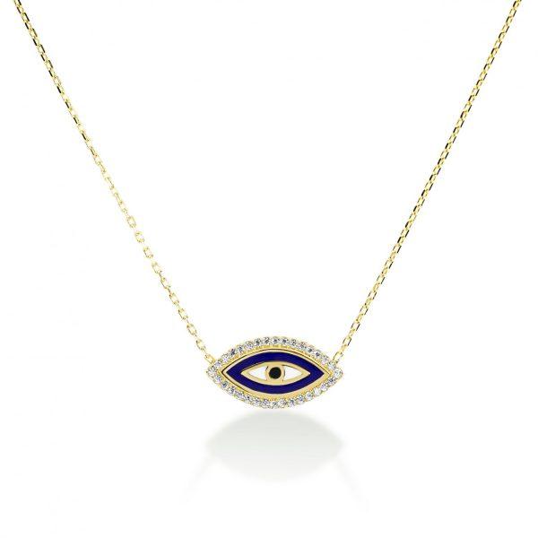שרשרת זהב - עין כחולה אמייל משובצת זרקונים