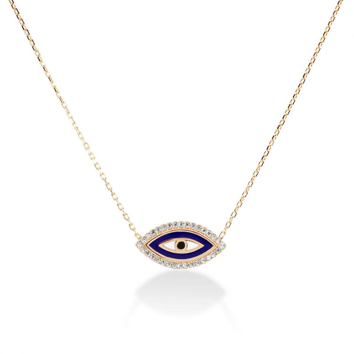 שרשרת זהב - עין כחולה אמייל משובצת זרקונים זהב אדום