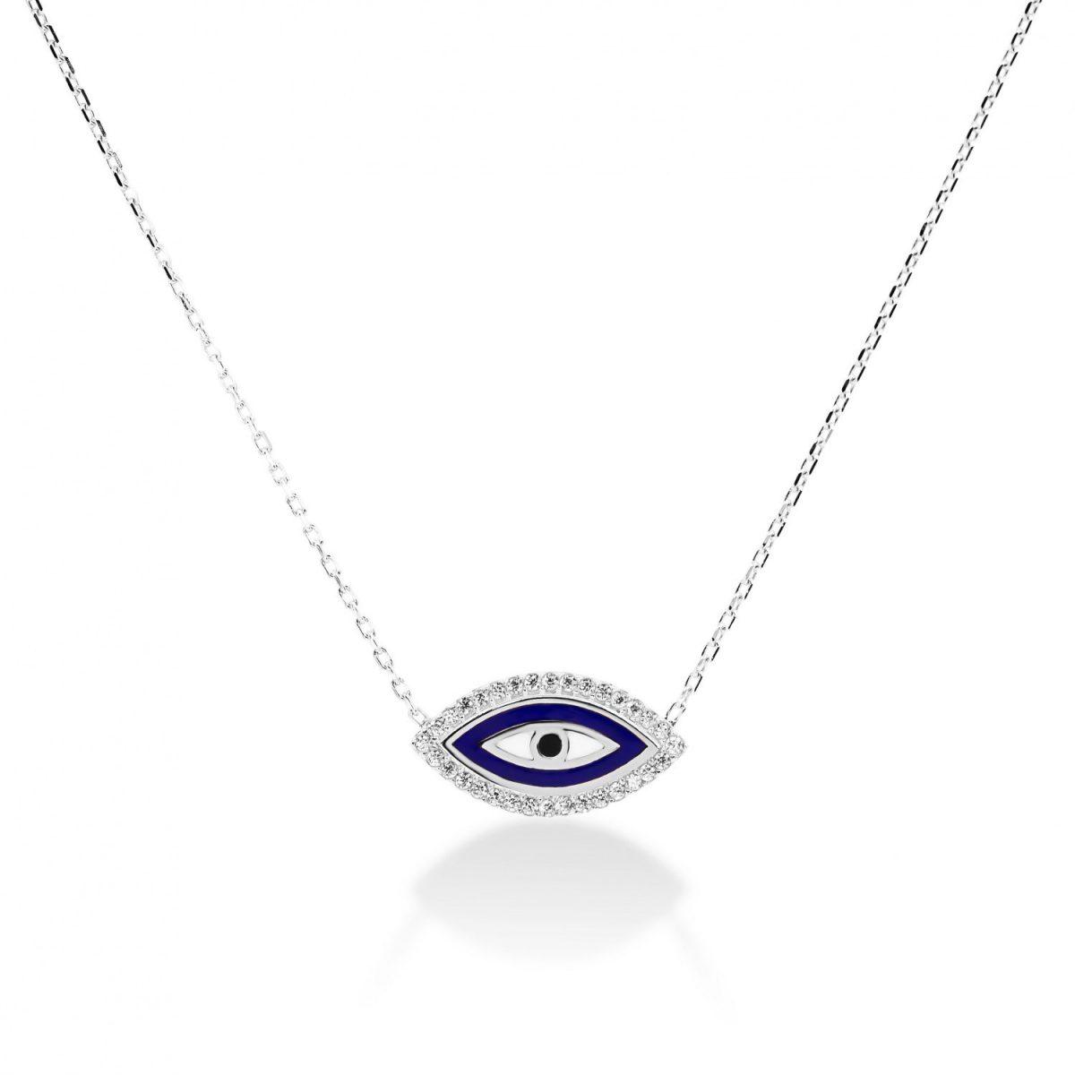 שרשרת זהב - עין כחולה אמייל משובצת זרקונים זהב לבן