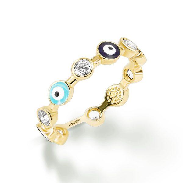 טבעת זהב עיניים - זהב צהוב