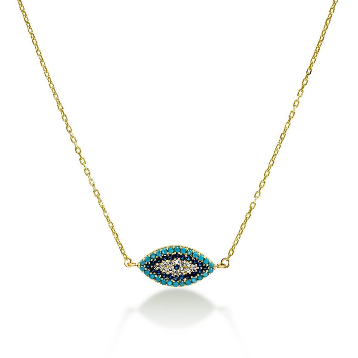 שרשרת זהב עין - טורקיז - זהב צהוב