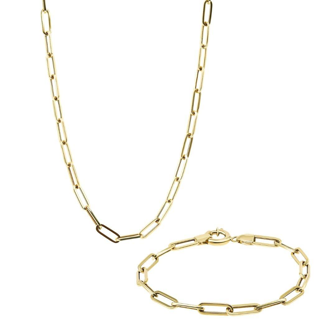 סט שרשרת וצמיד זהב - דריה - זהב צהוב