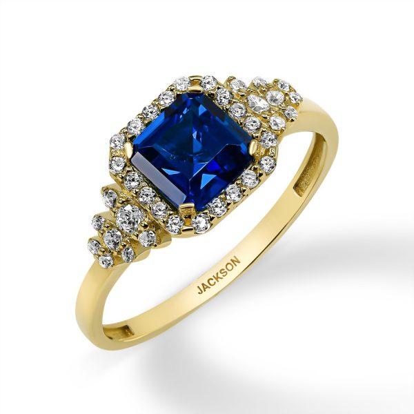 טבעת זהב- זרקון כחול- זהב צהוב