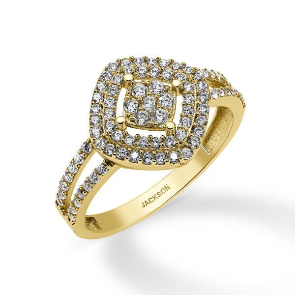 טבעת זהב - שנהב - זהב צהוב