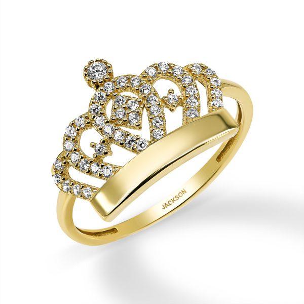 טבעת זרקונים - כתר - זהב צהוב
