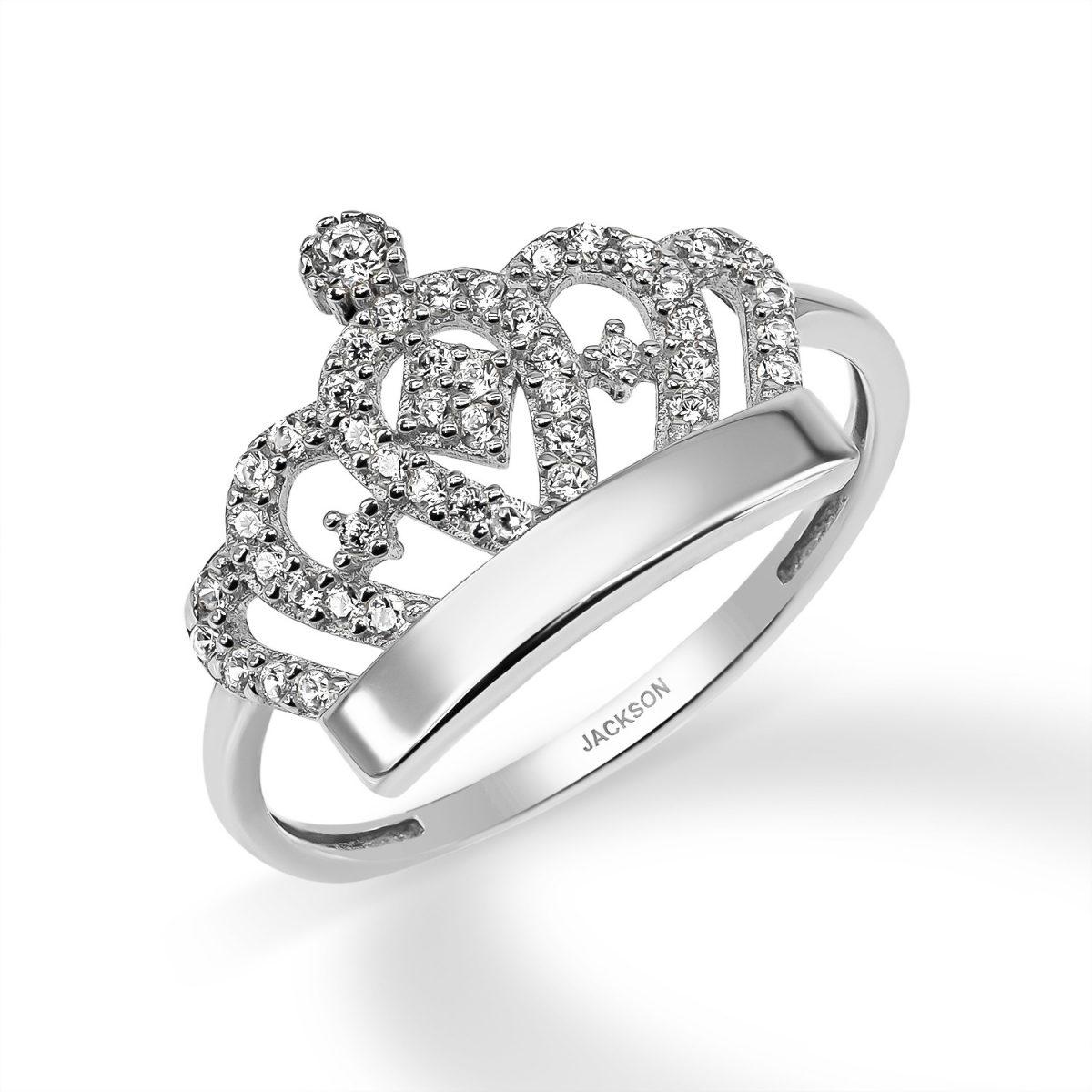 טבעת זרקונים - כתר - זהב לבן