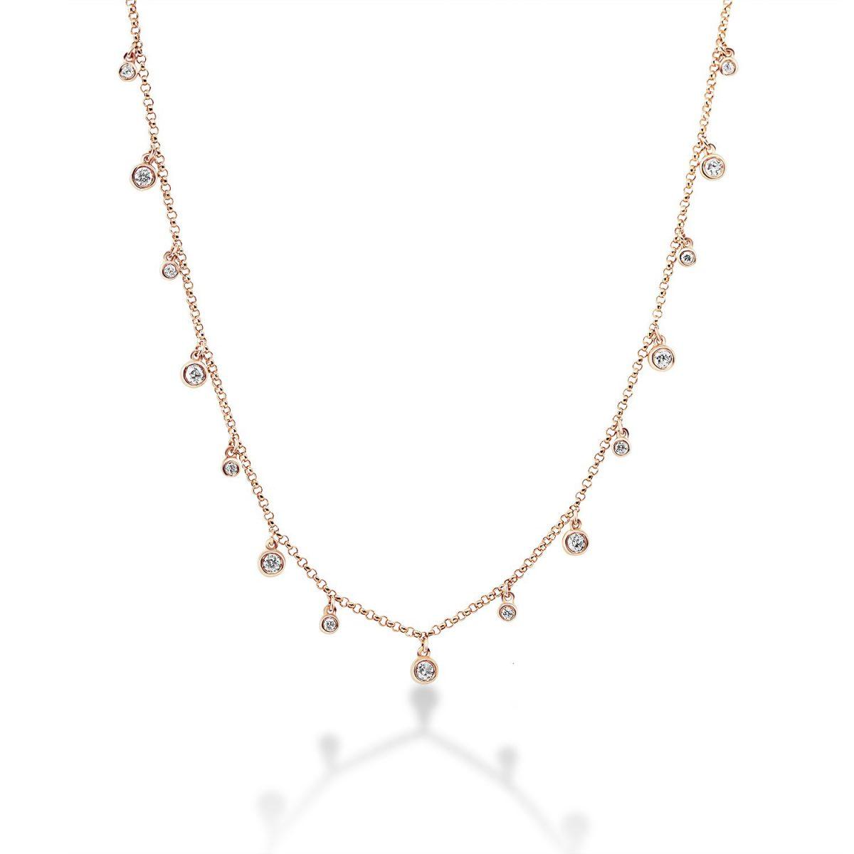 שרשרת יהלומים - ליז - זהב אדום