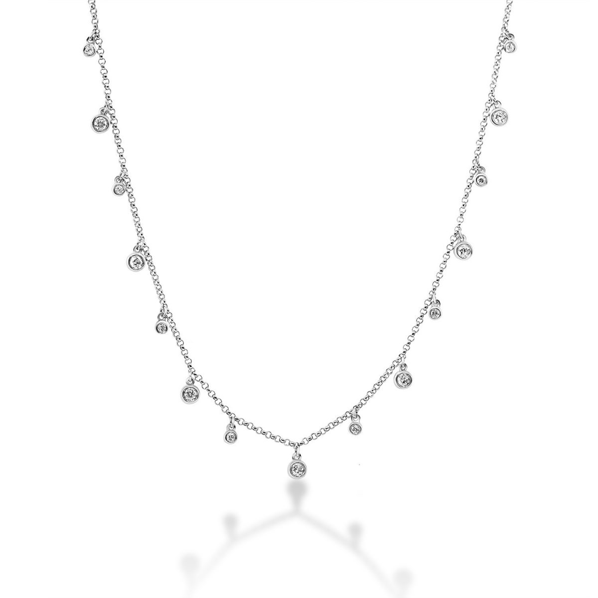 שרשרת יהלומים - ליז - זהב לבן