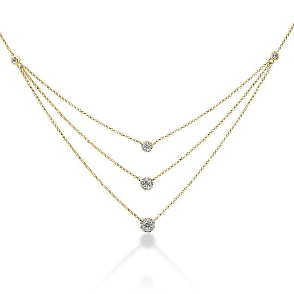 שרשרת יהלומים - לירי - זהב צהוב