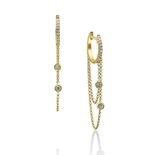 עגילי יהלומים - מלאני - זהב צהוב