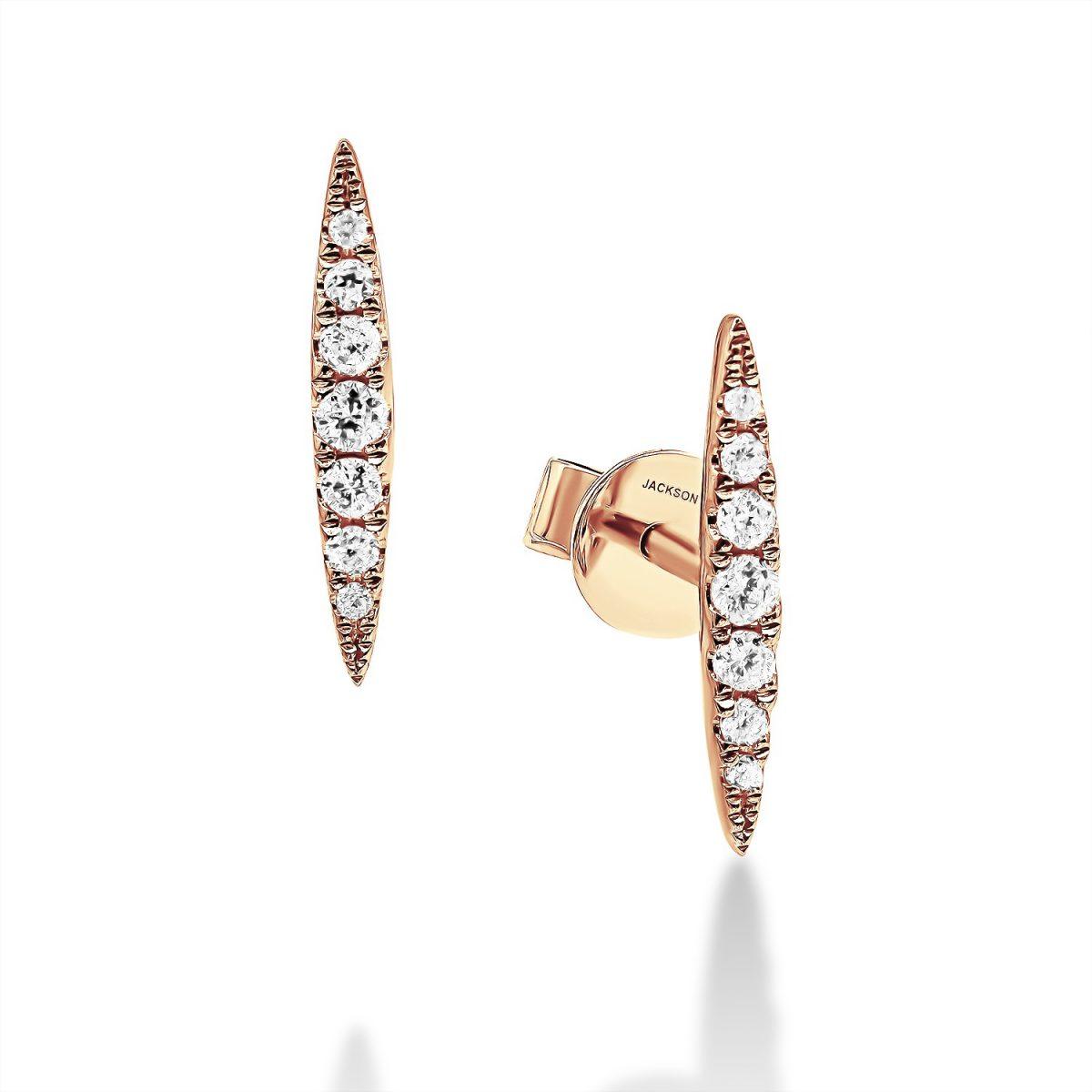 עגילי יהלומים - מישל - זהב אדום