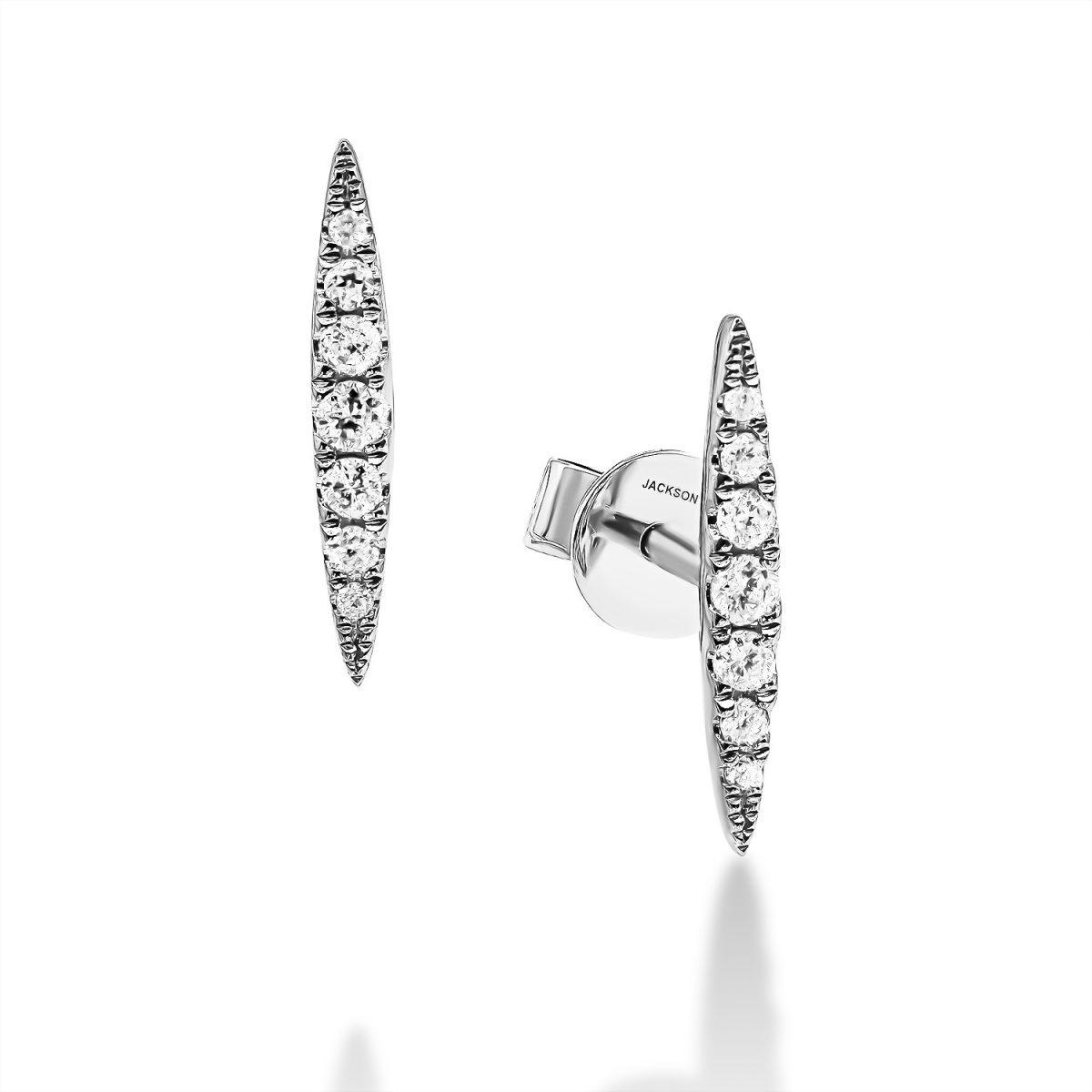עגילי יהלומים - מישל - זהב לבן