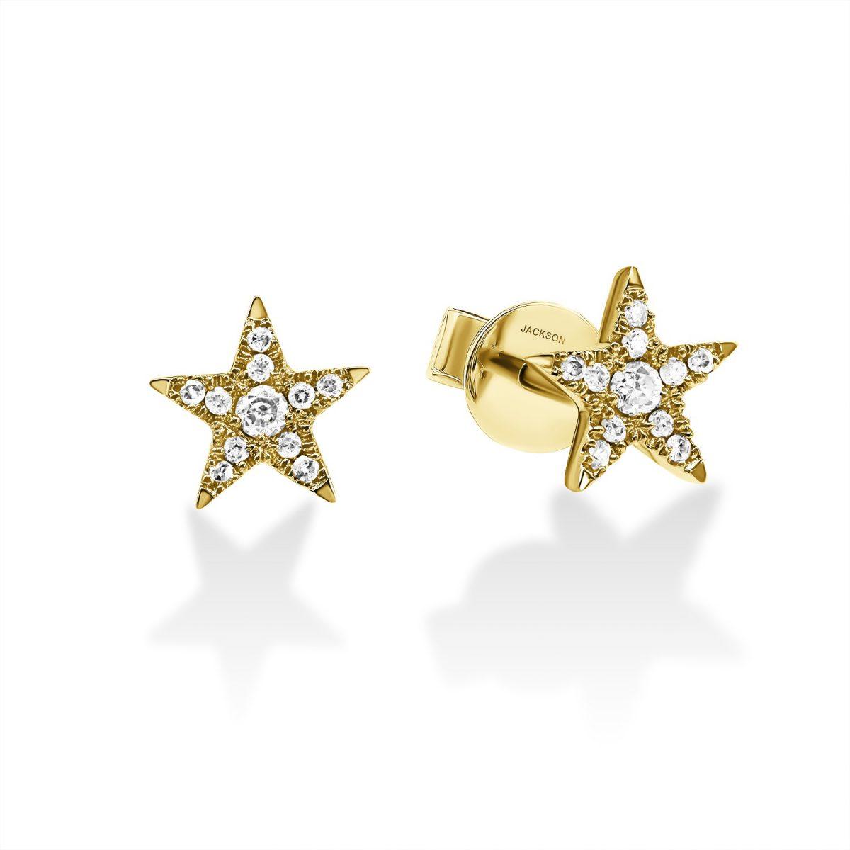 עגילי יהלומים - כוכב - זהב צהוב