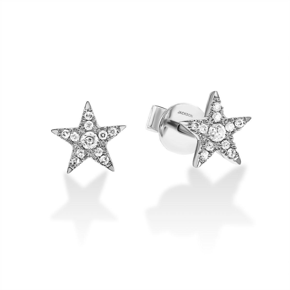 עגילי יהלומים - כוכב - זהב לבן