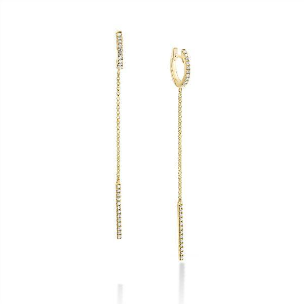 עגילי יהלומים - משי - זהב צהוב
