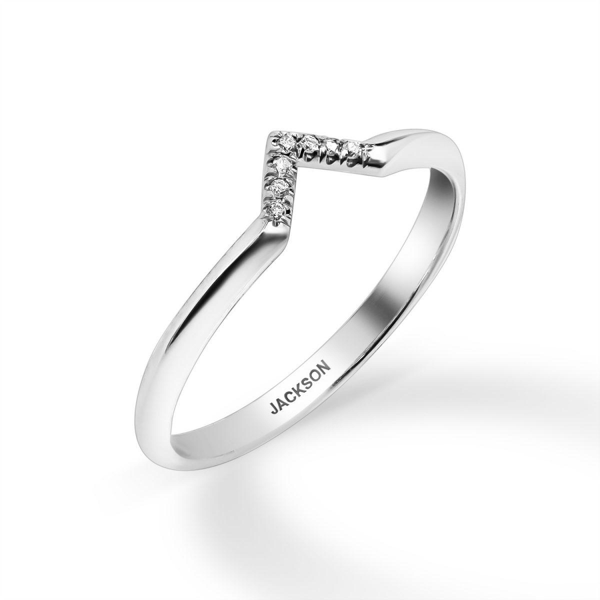 טבעת יהלומים - גדות - זהב לבן